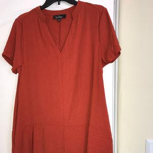 0191dcae82683 Lulu's Dresses   Lulus Siesta Rust Orange Short Sleeve Shift Dress ...